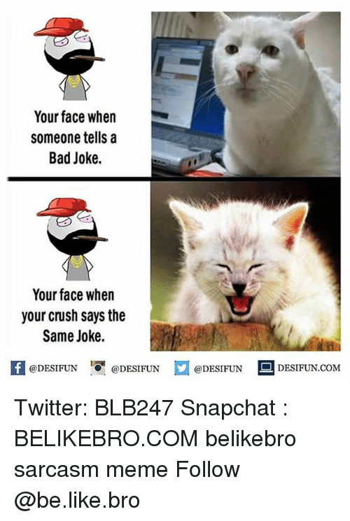 A Bad Joke: Your face when  someone tells a  Bad Joke.  Your face when  your crush says the  Same Joke.  @DESIFUN  @DESIFUN  @DESIFUN  DESIFUN COME Twitter: BLB247 Snapchat : BELIKEBRO.COM belikebro sarcasm meme Follow @be.like.bro