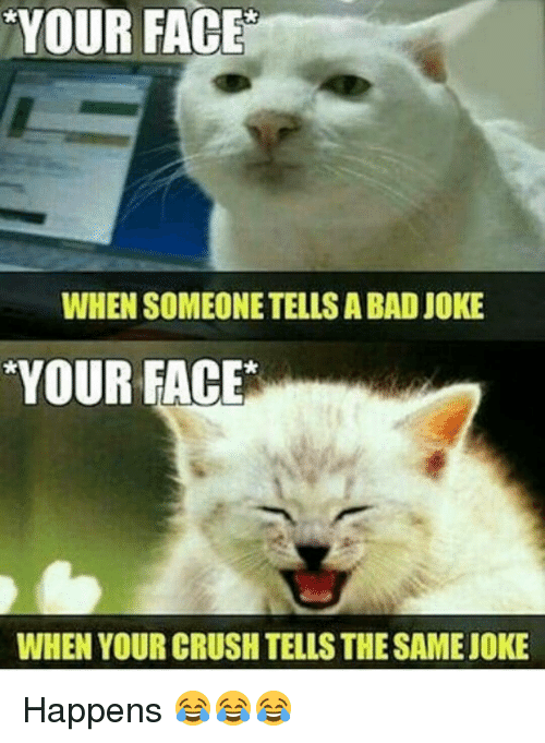 A Bad Joke: YOUR FACE  WHEN SOMEONETELLS A BAD JOKE  YOUR FACE  WHEN YOUR CRUSH TELLSTHESAMEJOKE Happens 😂😂😂