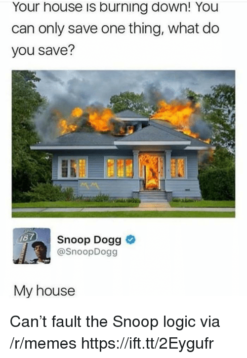 Logic, Memes, and My House: Your house is burning down! You  can only save one thing, what do  you save?  Snoop Dogg >  @SnoopDogg  My house Can't fault the Snoop logic via /r/memes https://ift.tt/2Eygufr