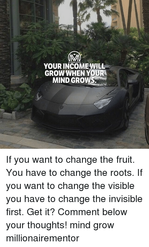 the roots: YOUR INCOME WILL  GROW WHEN YOU  MIND GROWS. If you want to change the fruit. You have to change the roots. If you want to change the visible you have to change the invisible first. Get it? Comment below your thoughts! mind grow millionairementor