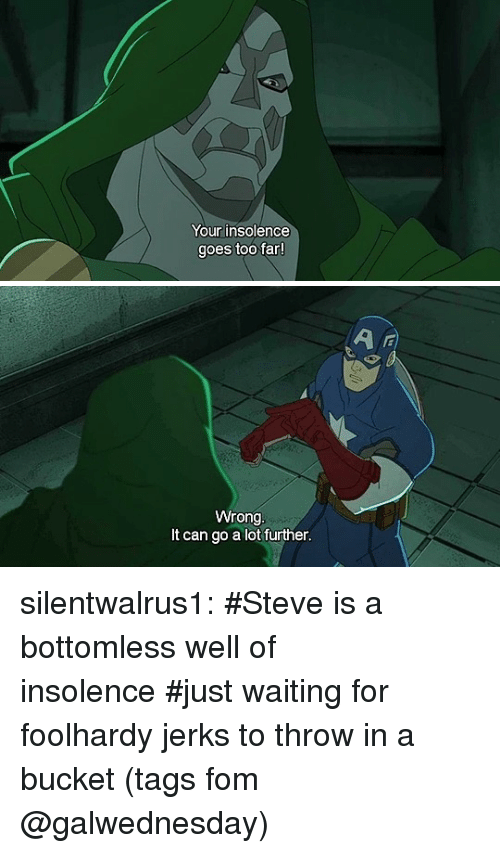 Jerks: Your insolence  goes too far   Wrong  It can go a lot further silentwalrus1:   #Steve is a bottomless well of insolence#just waiting for foolhardy jerks to throw in a bucket(tags fom @galwednesday)