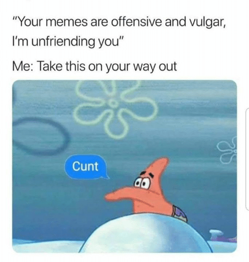 """Memes, Cunt, and Dank Memes: """"Your memes are offensive and vulgar,  I'm unfriending you""""  Me: Take this on your way out  Cunt"""