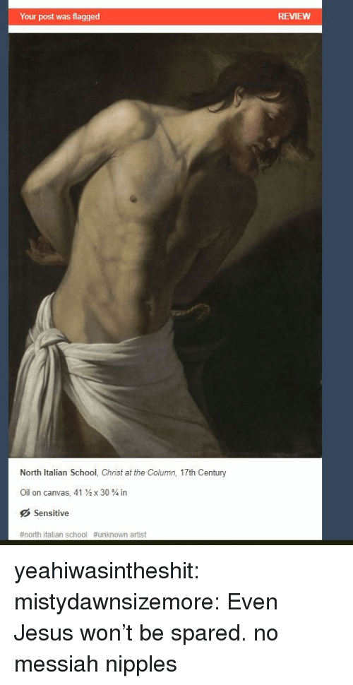 Jesus, School, and Tumblr: Your post was flagged  REVIEWW  North Italian School, Christ at the Column, 17th Century  Oil on canvas, 41  x 30 % in  Sensitive  #north italian school #unknown artist yeahiwasintheshit:  mistydawnsizemore: Even Jesus won't be spared.  no messiah nipples
