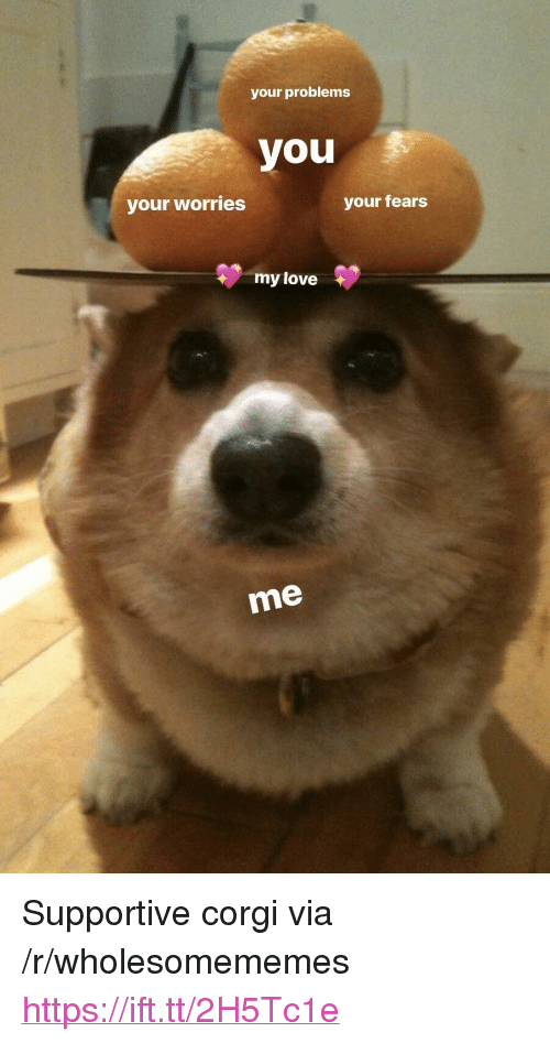 "Corgi, Love, and Via: your problems  you  your worries  your fears  my love  me <p>Supportive corgi via /r/wholesomememes <a href=""https://ift.tt/2H5Tc1e"">https://ift.tt/2H5Tc1e</a></p>"