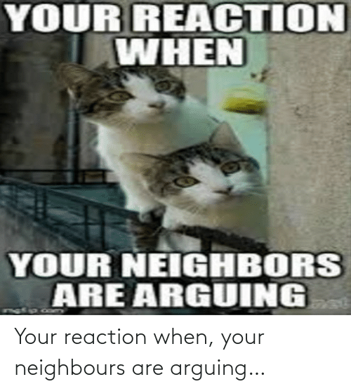 When Your: Your reaction when, your neighbours are arguing…