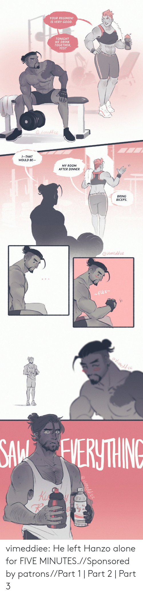 Being Alone, Tumblr, and Blog: YOUR REGIMEN!  IS VERY GOOD.  TONIGHT  WE DRINK  TOGETHER  YES?   I-THAT  WOULD BE  MY ROOM  AFTER DINNER  兀  BRING  BICEPS  @imedfrce   eddce  SA ERTHING  Ki  re vimeddiee:  He left Hanzo alone for FIVE MINUTES.//Sponsored by patrons//Part 1 | Part 2| Part 3