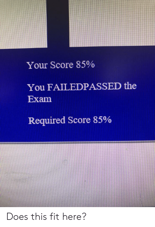 Fit, Score, and You: Your Score 85%  You FAILEDPASSED the  Exam  Required Score 85% Does this fit here?