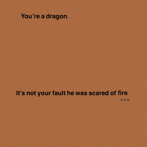 Your Fault: You're a dragon.  It's not your fault he was scared of fire.  a. S. b