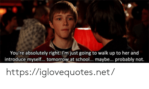 School, Tomorrow, and Her: You're absolutely right. I'm just going to walk up to her and  introduce myself... tomorrow at school... maybe... probably not. https://iglovequotes.net/