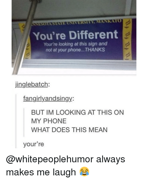 Memes, Phone, and Mean: You're Different  Your're looking at this sign and  not at your phone...THANKS  jinglebatch:  fangirlyandsingy:  BUT IM LOOKING AT THIS ON  MY PHONE  WHAT DOES THIS MEAN  your're @whitepeoplehumor always makes me laugh 😂