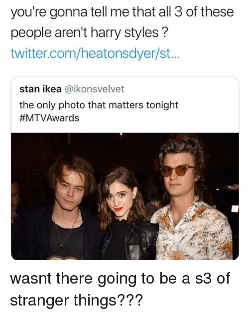 Ikea, Memes, and Stan: you're gonna tell me that all 3 of these  people aren't harry styles?  twitter.com/heatonsdyer/st..  stan ikea @ikonsvelvet  the only photo that matters tonight  wasnt there going to be a s3 of stranger things???