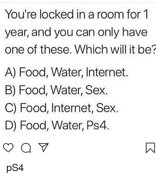 Food, Internet, and Memes: You're locked in a room for 1  year, and you can only have  one of these. Which will it be?  A) Food, Water, Internet.  B) Food, Water, Sex.  C) Food, Internet, Sex.  D) Food, Water, Ps4 pS4