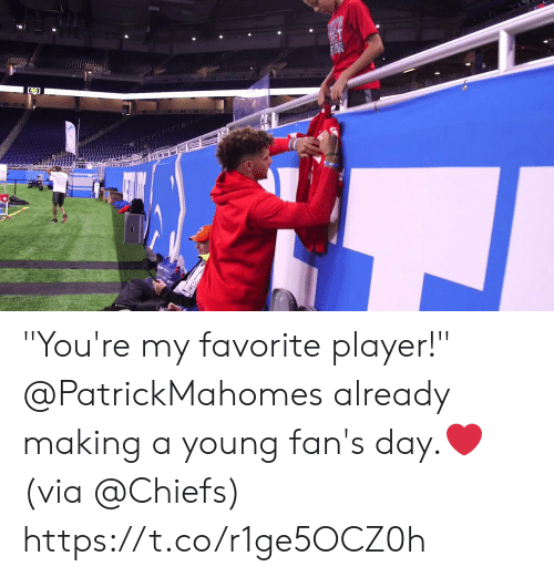 "Youre My: ""You're my favorite player!""   @PatrickMahomes already making a young fan's day.❤️  (via @Chiefs) https://t.co/r1ge5OCZ0h"