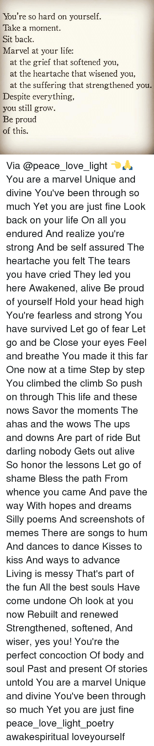 Lessoned: You're so hard on yourself.  Take a moment  Sit back.  Marvel at your life:  at the grief that softened you,  at the heartache that wisened you,  at the suffering that strengthened you.  Despite everything,  you still grow  Be proud  of this. Via @peace_love_light 👈🙏 You are a marvel Unique and divine You've been through so much Yet you are just fine Look back on your life On all you endured And realize you're strong And be self assured The heartache you felt The tears you have cried They led you here Awakened, alive Be proud of yourself Hold your head high You're fearless and strong You have survived Let go of fear Let go and be Close your eyes Feel and breathe You made it this far One now at a time Step by step You climbed the climb So push on through This life and these nows Savor the moments The ahas and the wows The ups and downs Are part of ride But darling nobody Gets out alive So honor the lessons Let go of shame Bless the path From whence you came And pave the way With hopes and dreams Silly poems And screenshots of memes There are songs to hum And dances to dance Kisses to kiss And ways to advance Living is messy That's part of the fun All the best souls Have come undone Oh look at you now Rebuilt and renewed Strengthened, softened, And wiser, yes you! You're the perfect concoction Of body and soul Past and present Of stories untold You are a marvel Unique and divine You've been through so much Yet you are just fine peace_love_light_poetry awakespiritual loveyourself