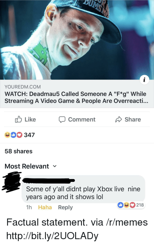 "xbox live: YOUREDM.COM  WATCH: Deadmau5 Called Someone A ""F*g"" While  Streaming A Video Game & People Are Overreacti...  cb Like  40 347  58 shares  Most Relevant  comment  Share  Some of y'all didnt play Xbox live nine  years ago and it shows lol  1h Haha Reply  090218 Factual statement. via /r/memes http://bit.ly/2UOLADy"