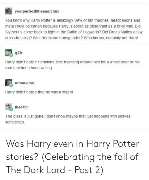 observant: yourperfectlittleanarchist  You know why Harry Potter is amazing? 99% of fan theories, headc anons and  meta could be canon because Harry is about as observant as a brick wall. Did  Slytherins come back to fight in the Battle of Hogwarts? Did Draco Malfoy enjoy  crossdressing? Was Hermione transgender? Who knows, certainly not Harry  q33r  Harry didn't notice Hermione time traveling around him for a whole year or his  own teacher's hand writing  urban-emo  Harry didn't notice that he was a wizard  the44th  The glass is just gone I don't know maybe that just happens with snakes  sometimes Was Harry even in Harry Potter stories? (Celebrating the fall of The Dark Lord - Post 2)