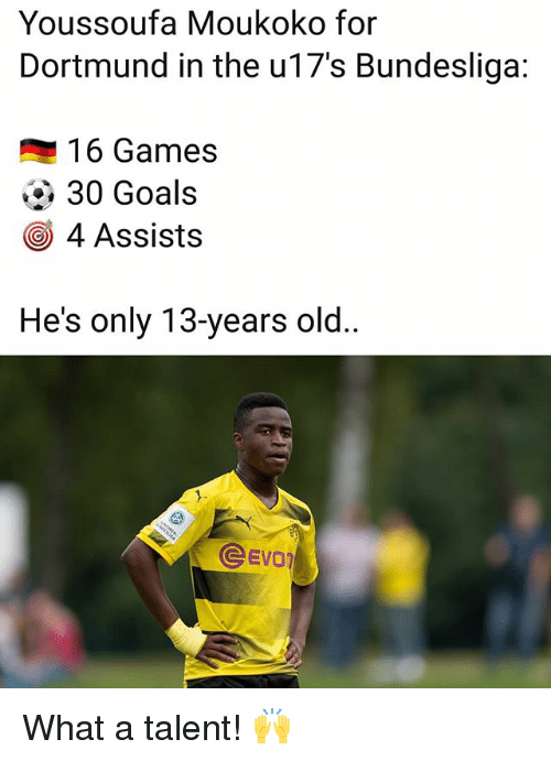 Goals, Memes, and Games: Youssoufa Moukoko for  Dortmund in the u17's Bundesliga:  16 Games  30 Goals  4 Assists  He's only 13-years old..  EVD What a talent! 🙌