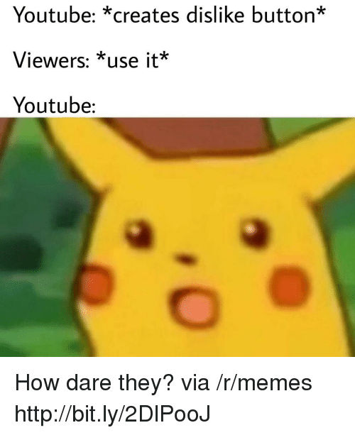 Memes, youtube.com, and Http: Youtube: *creates dislike button*  Viewers: *use it*  Youtube: How dare they? via /r/memes http://bit.ly/2DlPooJ
