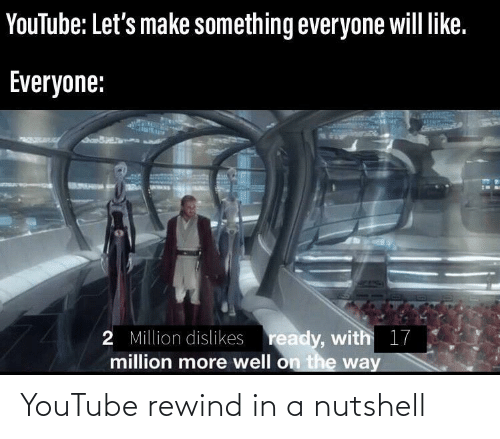 youtube.com, Will, and Make: YouTube: Let's make something everyone will like.  Everyone:  2 Million dislikes ready, with 17  million more well on the way YouTube rewind in a nutshell