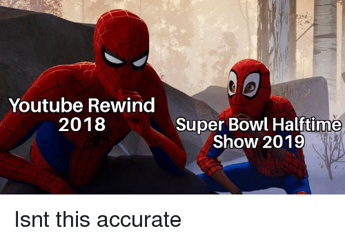 Super Bowl, youtube.com, and Bowl: Youtube Rewind  2018  Super Bowl Halftime  Show 2019 Isnt this accurate