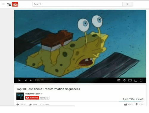 best animes: YouTube  Search  001 1211  Top 10 Best Anime Transformation Sequences  WatchMojo.com  G Subscribe 13096612  Add to Share More  4,287,959 views  22020 2742