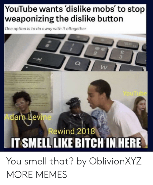 Bitch, Dank, and Memes: YouTube wants 'dislike mobs' to stop  weaponizing the dislike button  One option is to do away with it altogether  3  YouTube  Adam Levine  ewind 2018  IT SMELL LIKE BITCH IN HERE You smell that? by OblivionXYZ MORE MEMES