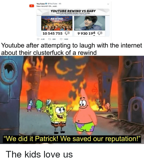 """Internet, Love, and youtube.com: YouTube YouTube 4h  New record!! Oh..wait.  YOUTUBE REWIND VS BABY  RACE TO BECOME THE MOST DISLIKED VIDEO ON YOUTUBE  SEWIND  Avevo  10 545 755  9 930 194  94.4K 42K ㅇ 140K  Youtube after attempting to laugh with the internet  about their clusterfuck of a rewind  """"We did it Patrick! We saved our reputation!"""" The kids love us"""