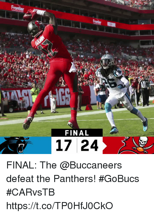 Memes, Panthers, and 🤖: Ys  FINAL  17 24 FINAL: The @Buccaneers defeat the Panthers! #GoBucs  #CARvsTB https://t.co/TP0HfJ0CkO