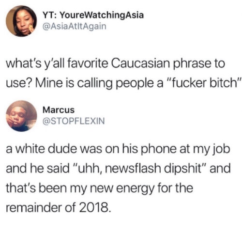 """Bitch, Dude, and Energy: YT: YoureWatchingAsia  @AsiaAtltAgain  what's y'all favorite Caucasian phrase to  use? Mine is calling people a """"fucker bitch""""  Marcus  @STOPFLEXIN  a white dude was on his phone at my job  and he said """"uhh, newsflash dipshit"""" and  that's been my new energy for the  remainder of 2018"""