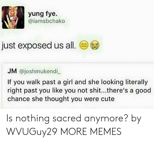 fye: yung fye.  @iamsbchako  just exposed us all.  JM @joshmukendi  If you walk past a girl and she looking literally  right past you like you not shit...there's a good  chance she thought you were cute Is nothing sacred anymore? by WVUGuy29 MORE MEMES