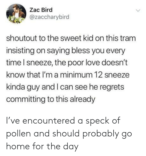 sweet: Zac Bird  @zaccharybird  shoutout to the sweet kid on this tram  insisting on saying bless you every  time I sneeze, the poor love doesn't  know that l'm a minimum 12 sneeze  kinda guy and I can see he regrets  committing to this already I've encountered a speck of pollen and should probably go home for the day