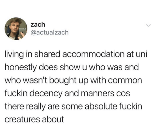 cos: zach  @actualzach  living in shared accommodation at uni  honestly does show u who was and  who wasn't bought up with common  fuckin decency and manners cos  there really are some absolute fuckin  creatures about