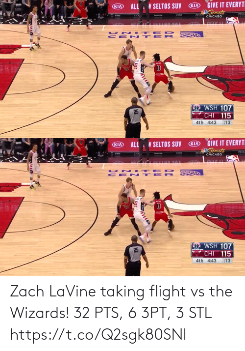 Zach: Zach LaVine taking flight vs the Wizards!   32 PTS, 6 3PT, 3 STL https://t.co/Q2sgk80SNl
