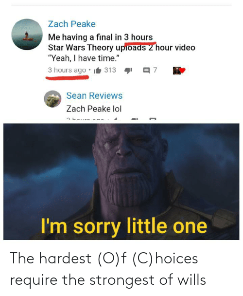 """Lol, Reddit, and Sorry: Zach Peake  Me having a final in 3 hours  Star Wars Theory upioads 2 hour video  """"Yeah, I have time.""""  3 hours ago  it 313  Sean Reviews  Zach Peake lol  I'm sorry little one The hardest (O)f (C)hoices require the strongest of wills"""