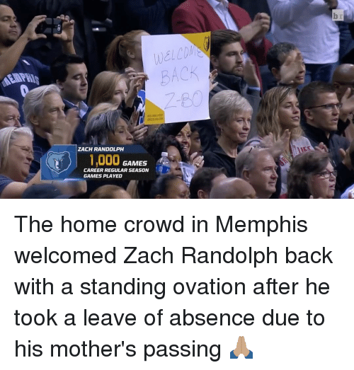 Sports, Zach Randolph, and Ovation: ZACH RANDOLPH  GAMES  CAREER REGULAR SEASON  GAMES PLAYED The home crowd in Memphis welcomed Zach Randolph back with a standing ovation after he took a leave of absence due to his mother's passing 🙏🏽