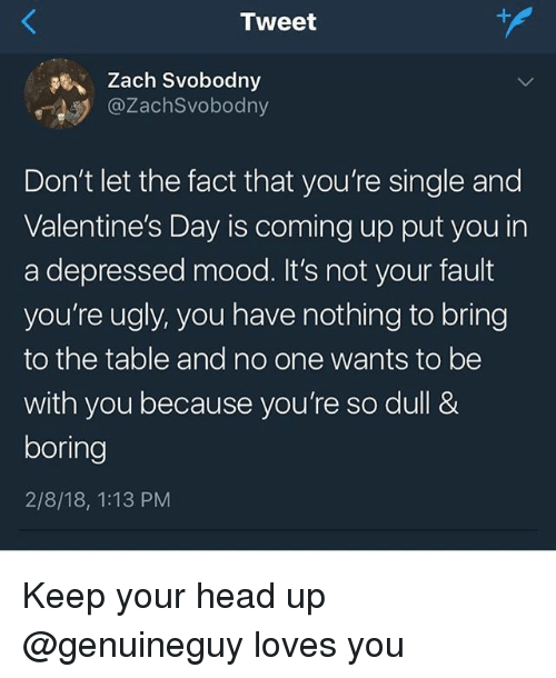 keep your head up: Zach Svobodny  @ZachSvobodny  Don't let the fact that you're single and  Valentine's Day is coming up put you in  a depressed mood. It's not your fault  you're ugly, you have nothing to bring  to the table and no one wants to be  with you because you're so dull &  boring  2/8/18, 1:13 PM Keep your head up @genuineguy loves you