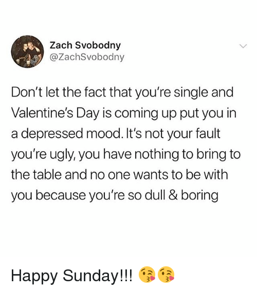 Its Not Your Fault: Zach Svobodny  @ZachSvobodny  Don't let the fact that you're single and  Valentine's Day is coming up put you in  a depressed mood.It's not your fault  you're ugly, you have nothing to bring to  the table and no one wants to be with  you because you're so dull & boring Happy Sunday!!! 😘😘