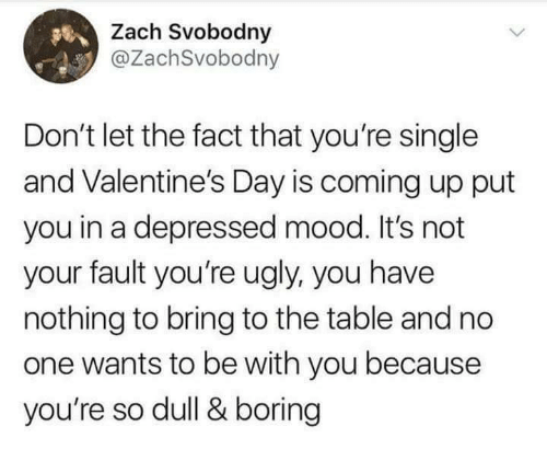 Its Not Your Fault: Zach Svobodny  @ZachSvobodny  Don't let the fact that you're single  and Valentine's Day is coming up put  you in a depressed mood. It's not  your fault you're ugly, you have  nothing to bring to the table and no  one wants to be with you because  you're so dull & boring