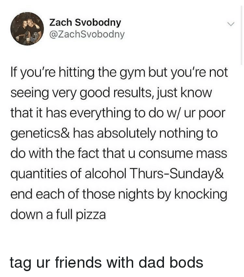 Dad, Friends, and Gym: Zach Svobodny  @ZachSvobodny  If you're hitting the gym but you're not  seeing very good results, just know  that it has everything to do w/ ur poor  genetics& has absolutely nothing to  do with the fact that u consume mass  quantities of alcohol Thurs-Sunday&  end each of those nights by knocking  down a full pizza tag ur friends with dad bods
