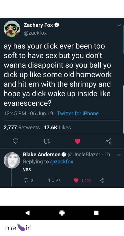 Blake Anderson, Evanescence, and Hit 'Em: Zachary Fox  @zackfox  ay has your dick ever been too  soft to have sex but you don't  wanna disappoint so you ball yo  dick up like some old homework  and hit em with the shrimpy and  hope ya dick wake up inside like  evanescence?  12:45 PM 06 Jun 19 Twitter for iPhone  2,777 Retweets 17.6K Likes  Blake Anderson @UncleBlazer 1h  Replying to @zackfox  yes  L 66  1,492 me🍆irl