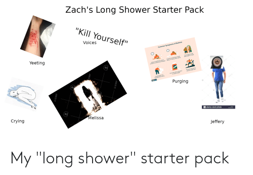 "bulimia: Zach's Long Shower Starter Pack  ""Kill Yourself""  Voices  Common Symptoms of Bulimia  Yeeting  Preaccupation with  Experiencing feelings of guilt,  shame, or anxiety ofter eating  body weight or shape  significant amount  Eating a  of food in a limited tjme (bingin  Excessive exercise to  prevent weight goin  of diet pills or diuretics  Use  to control weight  1 from  Purging  the body ofter eating  verywell  Purging  Crying  Melissa  a alamy stock photo  PA  w ny.co  Jeffery  SHEZIO My ""long shower"" starter pack"