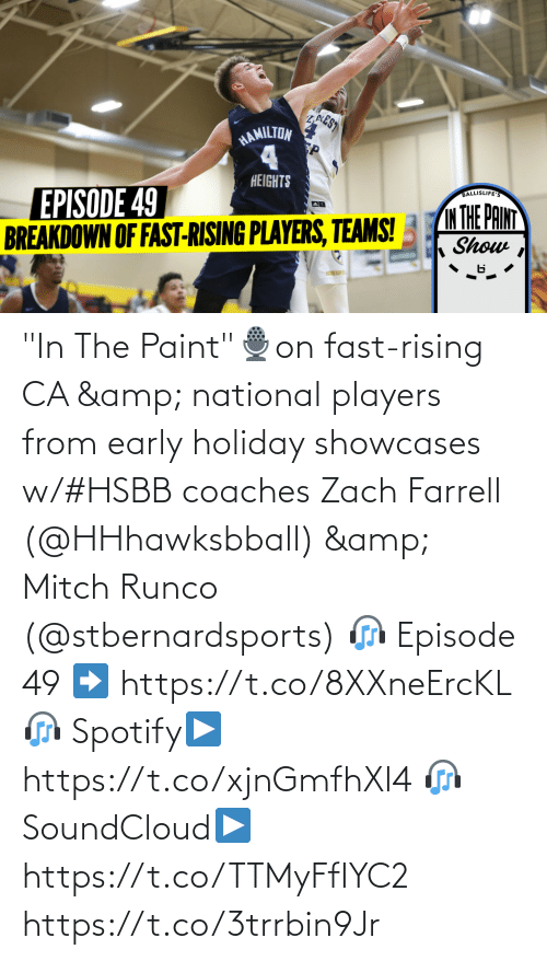 """Memes, SoundCloud, and Spotify: ZAEST  HAMILTON  HEIGHTS  EPISODE 49  BREAKDOWN OF FAST-RISING PLAYERS, TEAMS!  BALLISLIFE  IM THE PAINT  Show """"In The Paint""""🎙️on fast-rising CA & national players from early holiday showcases w/#HSBB coaches Zach Farrell (@HHhawksbball) & Mitch Runco (@stbernardsports)   🎧 Episode 49 ➡️ https://t.co/8XXneErcKL  🎧 Spotify▶️ https://t.co/xjnGmfhXl4  🎧 SoundCloud▶️https://t.co/TTMyFfIYC2 https://t.co/3trrbin9Jr"""