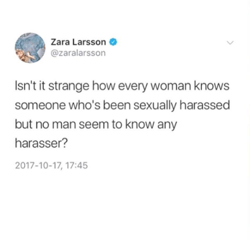 Zara: Zara Larsson  @zaralarsson  Isn't it strange how every woman knows  someone who's been sexually harassed  but no man seem to know any  harasser?  2017-10-17, 17:45