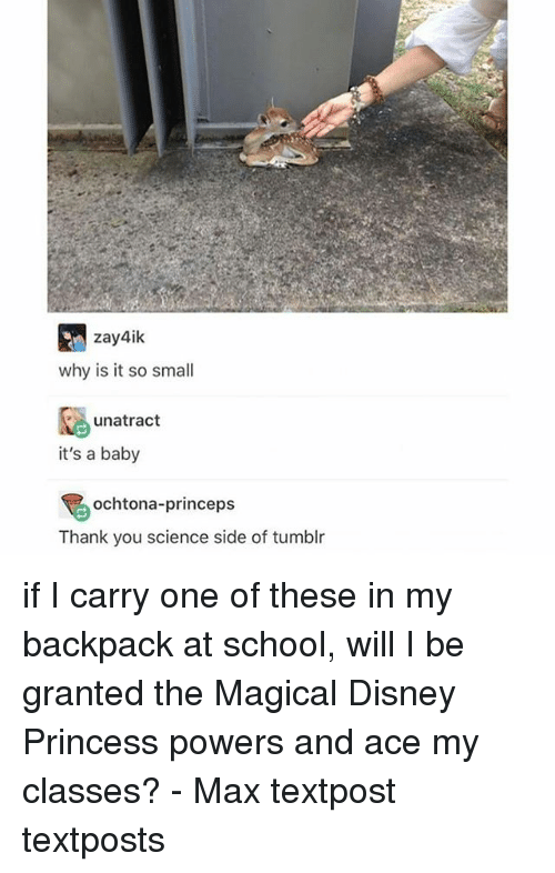 My Backpack: zay4ik  why is it so small  unatract  it's a baby  ochtona-princeps  Thank you science side of tumblr if I carry one of these in my backpack at school, will I be granted the Magical Disney Princess powers and ace my classes? - Max textpost textposts