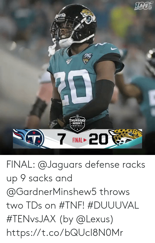 jaguars: ZD  THURSOAY  NIGHT  FOOTBALL  didas  T)  7  20  FINAL FINAL: @Jaguars defense racks up 9 sacks and @GardnerMinshew5 throws two TDs on #TNF! #DUUUVAL #TENvsJAX  (by @Lexus) https://t.co/bQUcI8N0Mr