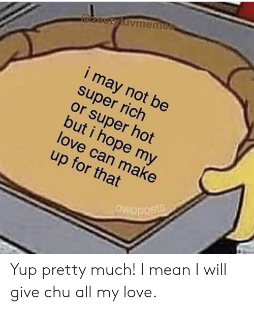 Love, Mean, and Hope: zeetyldvmemes  i may not be  super rich  or super hot  but i hope my  love can make  up for that  Owaposts Yup pretty much! I mean I will give chu all my love.