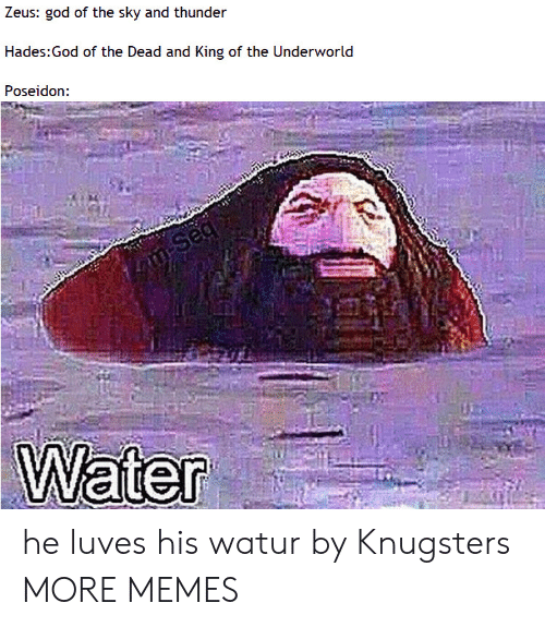Dank, God, and Memes: Zeus: god of the sky and thunder  Hades:God of the Dead and King of the Underworld  Poseidon:  n Seg  Water he luves his watur by Knugsters MORE MEMES