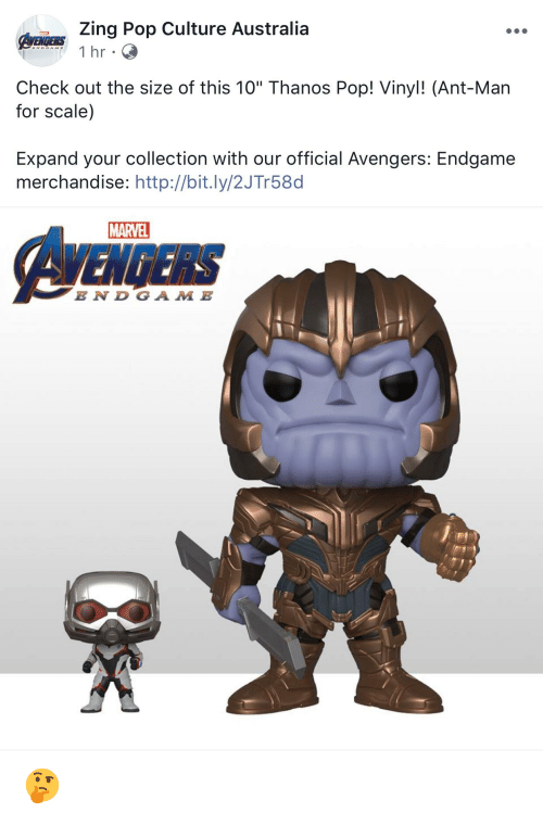 "Pop, Australia, and Avengers: Zing Pop Culture Australia  Check out the size of this 10"" Thanos Pop! Vinyl! (Ant-Man  for scale)  Expand your collection with our official Avengers: Endgame  merchandise: http://bit.ly/2JTr58d  MARVEL  EN D GA M E 🤔"