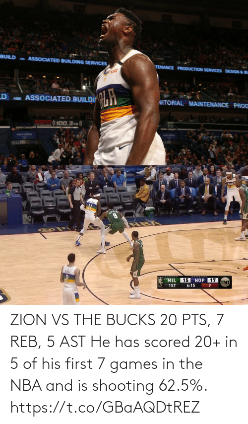 NBA: ZION VS THE BUCKS 20 PTS, 7 REB, 5 AST  He has scored 20+ in 5 of his first 7 games in the NBA and is shooting 62.5%.  https://t.co/GBaAQDtREZ