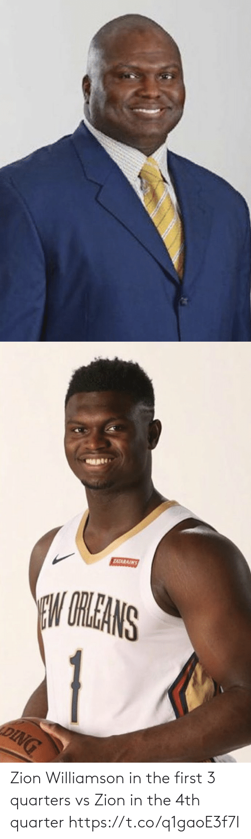 In The: Zion Williamson in the first 3 quarters vs Zion in the 4th quarter https://t.co/q1gaoE3f7I